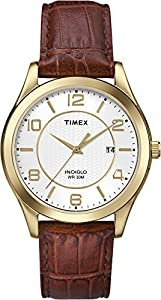 Timex T2P449GP Men's Dress Gold Case and Brown Leather Strap Wrist Watch