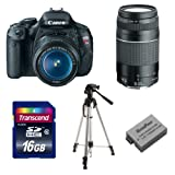 Canon-EOS-Rebel-T3i-DSLR-Bundle-with-EF-S-18-55mm-f-3.5-5.6-IS-II-Lens-75-300mm-f-4-5.6-III-Telephoto-Lens-16GB-card-Case-Spare-Battery-Tripod-and-more