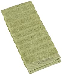 Cuisinart 100% Cotton Terry Super Absorbent Kitchen Towel, Sculpted Subway Tile, Green