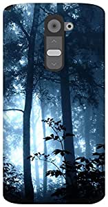 The Racoon Grip jungle magic blue hard plastic printed back case / cover for LG G2