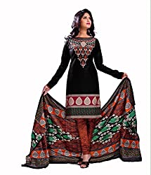 Neerja creation womens cotton Unstiched Dress material(K-1002_Black)