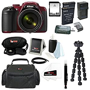Nikon COOLPIX P600 Digital Camera (Red) + 64GB Memory Card + Additional EN-EL23 Battery and Charger + Small Gadget Camera Bag + All in One High Speed Card Reader + Accessory Kit
