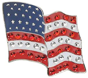 US Flying Flag Crystal Golf Ball Marker - ADD Some Bling to Your Game!