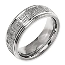 buy 8Mm Ridged Edge Laser Engraved Celtic Weave Titanium Wedding Band - Size 10