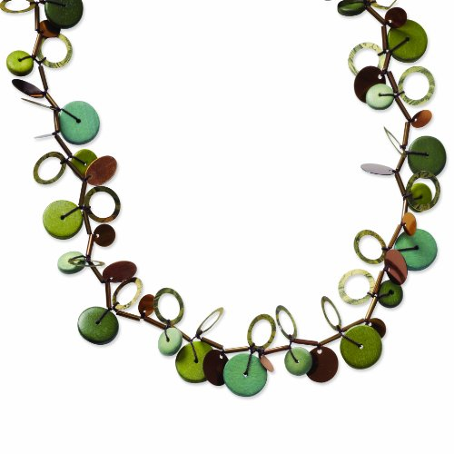 Green Hamba Wood Copper Bead & Sequin 47in Necklace
