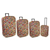 Karabar Set of 4 Lightweight Expandable Suitcases - 3 Years Warranty! (Owl Grey)