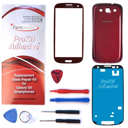 S3 Prokit Color Conversion Replacement Screen Glass Lens Color Conversion Kit I9300 I747 T999 I535 (Garnet Red) Prokit Adhesive