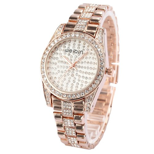 WEIQIN Luxury Bling Crystal Lady Women Bracelet Stainless Steel Band Quartz Wrist Watch WQI059