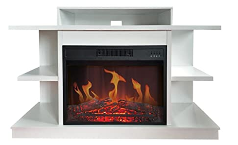 Caminetto elettrico e Mobile Porta TV Fuji Bianco Mobile 2 in 1 Camino elettrico termoventilato da 2000W e Porta Televisione con portata fino a 40 Kg