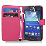 Samsung Galaxy Express 2 - Premium Leather Wallet Flip Case Cover Pouch + Screen Protector With Microfibre Polishing Cloth + Touch Screen Stylus Pen By CCUK