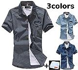 (JOY JOY JOIN) アメカジ カジュアル デニム デザイン ワッペン ワイシャツ 半袖 スリム おしゃれ シャツ キレイめ きれいめ メンズ (3色選択 インディゴ ブリーチ グレー) JOY JOY JOINオリジナルミニタオル セット