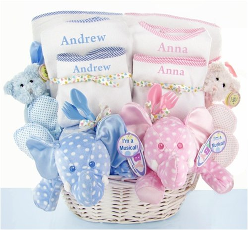 Personalized Double The Blessings Twins Baby Gift Basket - Great Gift