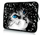 Blue EYES Cat Universal 11.6 12 12.1 inch Neoprene Tablet Laptop Soft Sleeve Bag Cover Case for 11.6 Acer C7 Chromebook Netbook,Dell alienware m11x,MacBook Air PC,12.1 SAMSUNG Series 5 7,Lenovo X201 ASUS VX6 HP x2,ASUS VivoTab Q200E Tablet,12.1 Dell Inspiron Mini 12