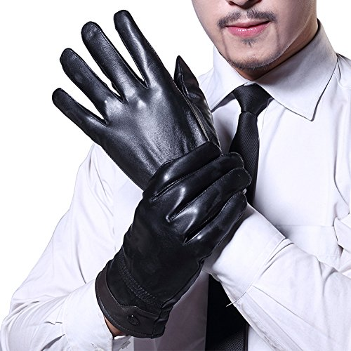Yosang Men Soft Genuine Lambskin Nappa Leather Gloves Winter Warm Motorcycle Driving Fashion Gift Gloves Brown Genuine Leather Gauntlet Gloves