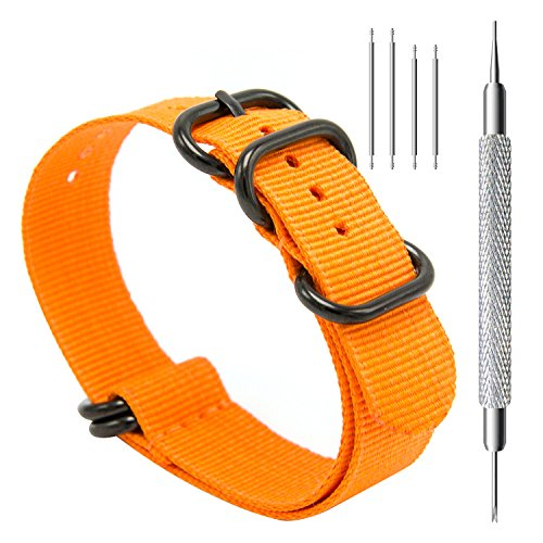 CIVO Heavy Duty G10 Zulu Military Watch Bands NATO Premium Ballistic Nylon Watch Strap 5 Black Rings with Stainless Steel Buckle 20mm 22mm 24mm (orange, 20mm) (Watch Strap Stainless Steel 10mm compare prices)