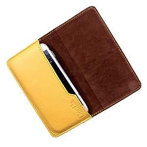 Dooda Genuine Leather Flip Pouch Case For Motorola Droid Razr M (YELLOW)