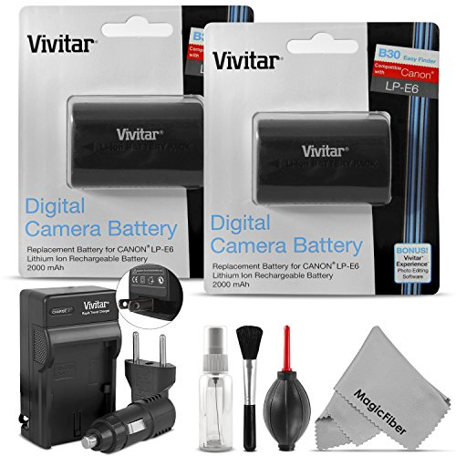 (2 Pack) Vivitar LP-E6 LP-E6N Battery and Charger Kit for Canon EOS 5D Mark II, III, EOS 6D, 60D, 7D, 7D Mark II, 70D (Battery Canon 7d compare prices)
