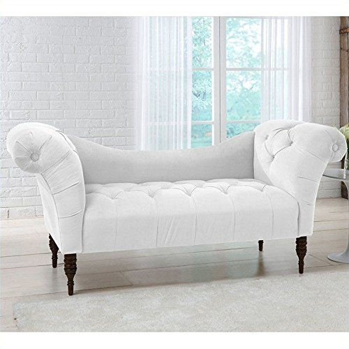 Skyline Furniture Tufted Chaise Lounge in White 0