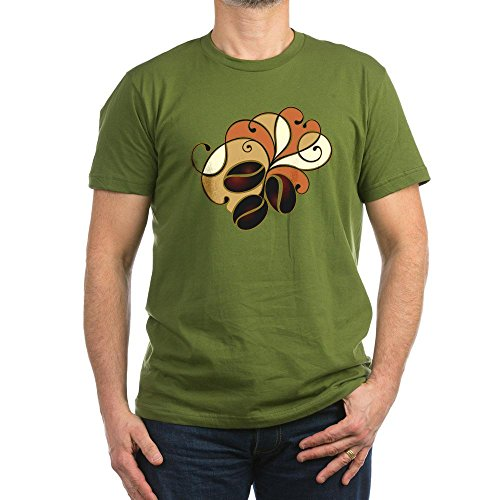 Truly Teague Men'S Fitted T-Shirt (Dark) Coffee Bean Floral - Olive, Large