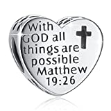 """925 Sterling Silver """" With God All Things Are Possible"""" Heart Charms Fit European Snake Bracelets"""