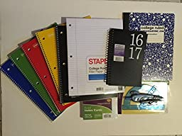Planner, 5 College Ruled Spiral Notebooks, Composition Notebook Filler Paper, Ruled Index Cards and Compass/Protractor Set 11 Items Bundle (black)