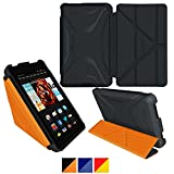 roocase Kindle Fire HD 6 2014 Case, new Kindle Fire HD 6 Origami 3D Slim Shell Case with Sleep / Wake Smart Cover [Supports Landscape, Portrait, Typing Stand] for All-New Fire HD 6 Tablet (2014), Granite Black / roocase Orange