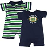 KZ Boys 2 Piece Number One Draft Pick Romper Set 18M- Navy/ Striped