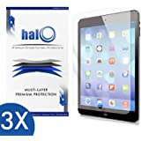 Halo Screen Protector Film High Definition (HD) Clear (Invisible) for Apple iPad Air 2, iPad Air (3-Pack) - Lifetime Replacement Warranty