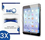 Halo Screen Protector Film High Definition (HD) Clear (Invisible) for Apple Ipad Air (3-Pack) - Lifetime Replacement Warranty
