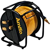 "Amflo 545HR-RET Manual Hose Reel With 200 PSI 3/8"" x 75'  Polyurethane Gold Air Hose With Dual Output Fittings"