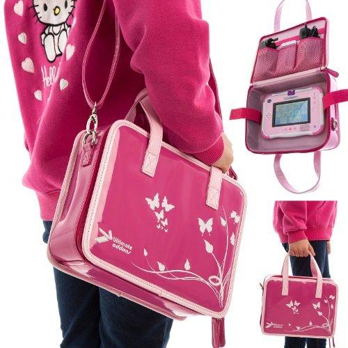 Ultimate Addons Girls Travel Storage Case Handbag + Headphone Bundle For Vtech Innotab 3S (Pink Bag - Pink Headphones)