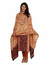 Beige & Maroon Cotton Suit with Kantha Work
