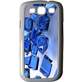 Blue Cubes Design White Hard Case Cover for Samsung Galaxy S3 i9300