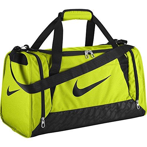 Nike Brasilia 6 Duffel Bag (Small, VOLT/BLACK/BLACK) (Nike Brasilia 6 Large compare prices)