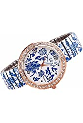 Rayshop - Women's Fashion Personality Simple Blue and White Porcelain Style Metal Wrist Watch