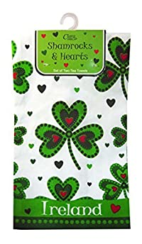 2 Pc Tea Towel Set Shamrocks And Hearts