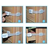 Multi-Use-Adjustable-Child-Safety-Locks-For-Baby-Proofing-Cabinets-Drawers-Appliances-Toilet-Seat-Fridge-Oven-and-more-Adjustable-Strap-and-Latch-SystemWhite-Silver-2-Pack