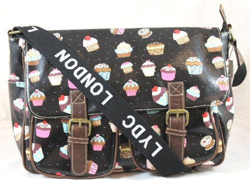 Cupcake Design Saddle Messenger Style Bag in Black