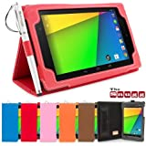 Snugg™ Nexus 7 2 Case - Smart Cover with Flip Stand & Lifetime Guarantee (Red Leather) for Nexus 7 2