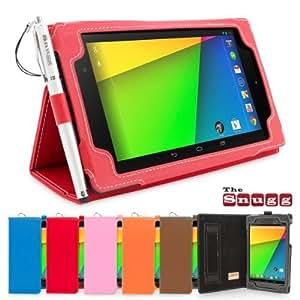 Snugg™ Nexus 7 FHD 2 (2013) Cuero funda en Rojo, Funda con soporte plegable, correa de mano elastica, lazo para el lapiz stylus y un interior de fibra Nubuck de alta calidad, Automaticamente despierta y se pone a dormir Google Nexus 7 2.