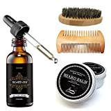 Aptoco Beard Grooming and Trimming Kit for Men Care, Beard Brush, Beard Comb, Unscented Beard Oil and Beard Balm