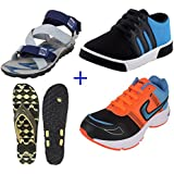 Earton COMBO Pack Of 4 Pair Of Shoes Multicolor (Casual Shoe & Floater & Sandals)