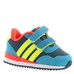 adidas NEO V Jog CMF INF Runner Sneaker (Infant/Toddler) (3 Infant M, Blue/Solar Yellow/Red)