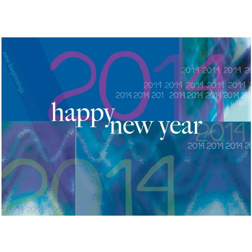 "New Year Greeting Card N9002. A best seller for many years. A modern, striking design with a ""happy new year"" message and the 2014 shown multiple times. A boxed set of 25 cards and 26 white envelopes"