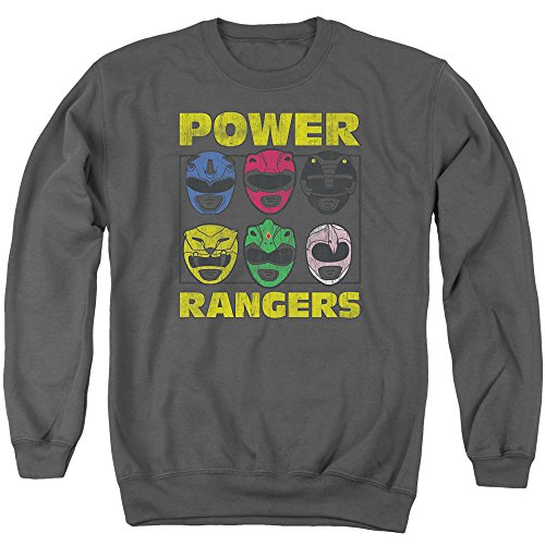 Mighty Morphin Power Rangers TV Series Ranger Helmets Adult Crewneck Sweatshirt (Pink Power Ranger Helmet compare prices)