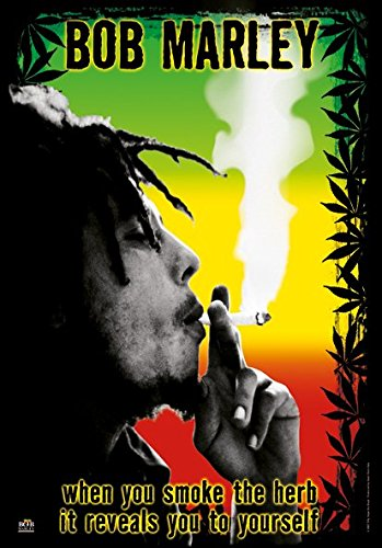 Heart Rock Licensed Bandiera Bob Marley - Herb, Tessuto, Multicolore, 110X75X0,1 cm