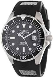 Invicta Men's 12558 Pro Diver Black Carbon Fiber Dial Black Polyurethane Watch