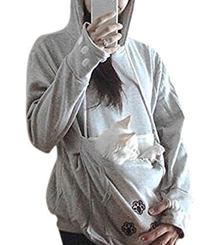 AIYUE Felpa con Cappuccio Donna Raggaza Manica Lunga Pullover Maglione con Tasche Frontale Porta Gatto Cani con Orecchie Animal Hoodie Hoody Kawaii Giacca
