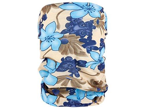 Foulard fazzoletto da collo sciarpa funzionale multiuso scaldacollo tubolare leggero e morbido estate primavera autunno inverno loop anello ragazze colorati stola accessorio moderno lifestyle, Multituch MF-174-221:MF-188 fiore beige blu