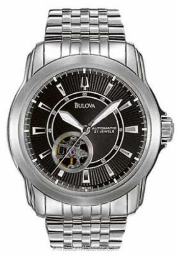 Bulova Men's 96A106 Automatic Mechanical Bracelet Black Dial Watch